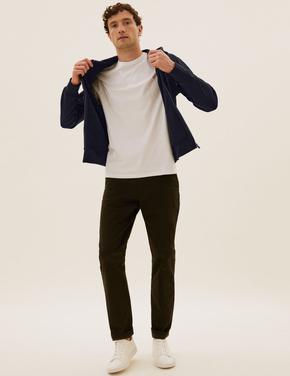Erkek Lacivert Saf Pamuklu Kapüşonlu Sweatshirt