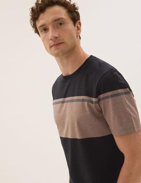 Erkek Siyah Saf Pamuk Şerit Desenli T-Shirt