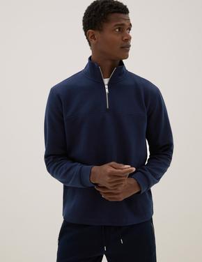 Erkek Lacivert Autograph Pamuklu Sweatshirt