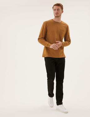 Erkek Bej Saf Pamuklu Uzun Kollu T-Shirt