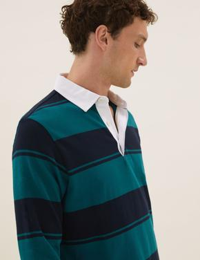 Erkek Yeşil Saf Pamuklu Uzun Kollu Polo Yaka T-Shirt