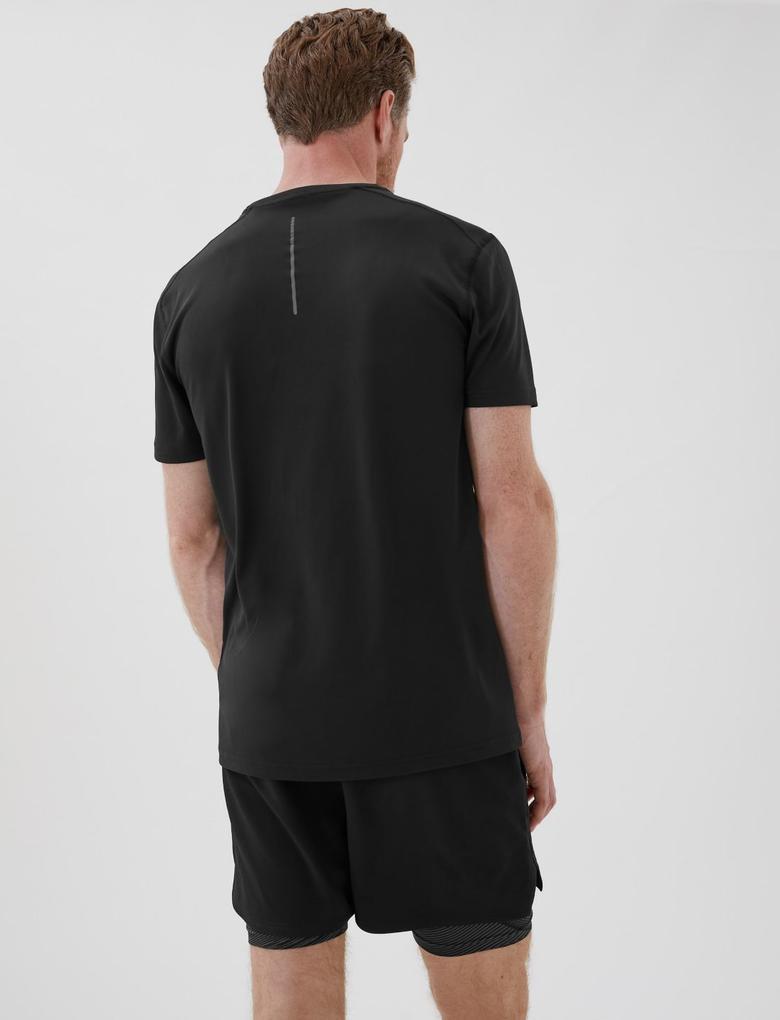 Erkek Siyah Active Kısa Kollu T-Shirt