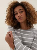 Kadın Gri Saf Pamuklu Çizgili Uzun Kollu T-Shirt