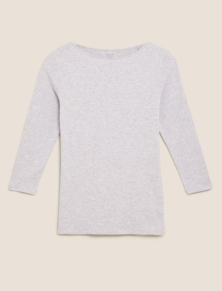 Kadın Gri 3/4 Kollu Pamuklu T-shirt