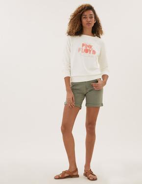 Kadın Krem Saf Pamuk Pink Floyd Sweatshirt