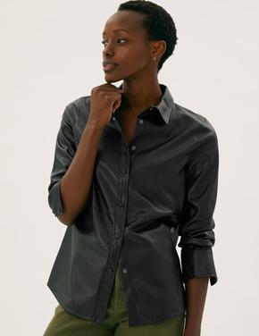 Kadın Siyah Suni Deri Oversize Gömlek