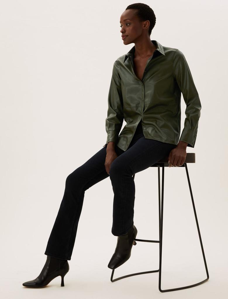 Kadın Yeşil Suni Deri Oversize Gömlek