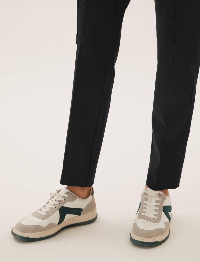 Kadın Siyah Kargo Tapered Ankle Grazer Pantolon