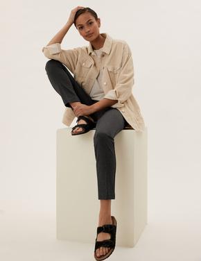 Kadın Gri Slim Pantolon