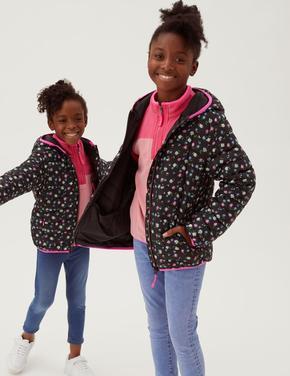 Kız Çocuk Siyah Stormwear Çiçek Desenli Şişme Mont (2-16 Yaş)