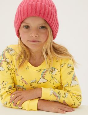 Kız Çocuk Sarı Unicorn Desenli Sweatshirt (2-7 Yaş)