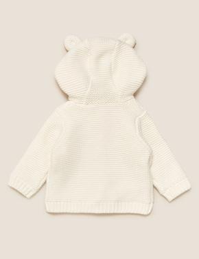 Bebek Krem Saf Pamuk Kapüşonlu Örme Hırka (0-3 Yaş)