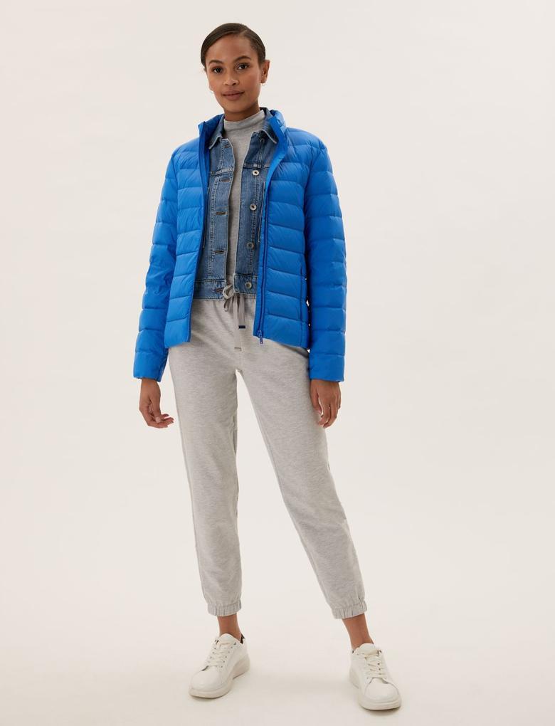 Kadın Mavi Feather & Down Puffer Mont
