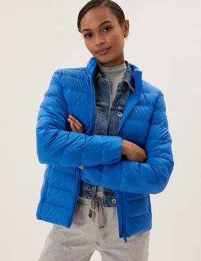 Kadın Mavi Feather&Down Puffer Şişme Mont