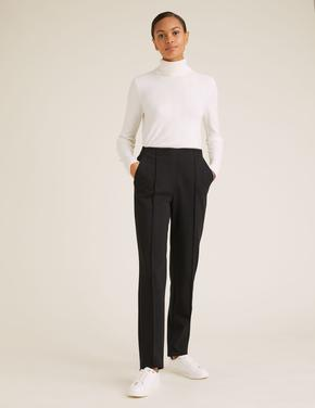 Kadın Siyah Jersey Straight Leg Pantolon