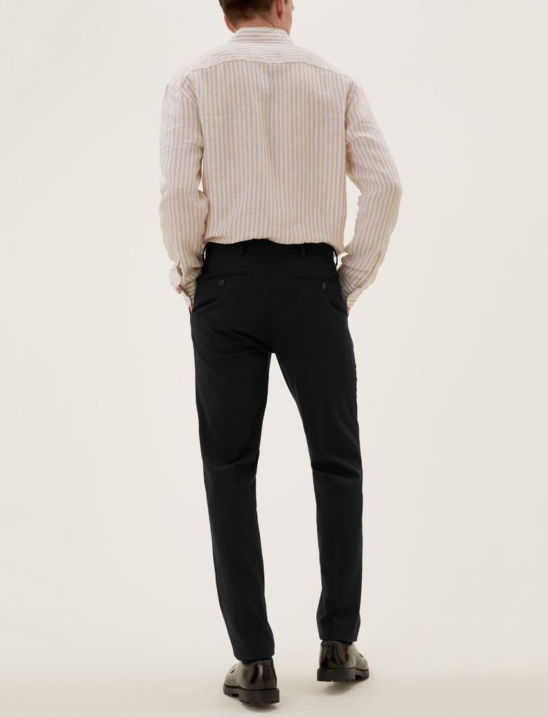 Erkek Siyah Slim Fit Flat Front Pantolon