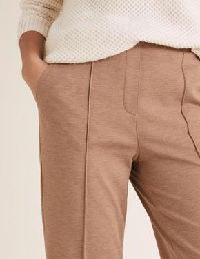 Kadın Renksiz Jersey Straight Leg Pantolon