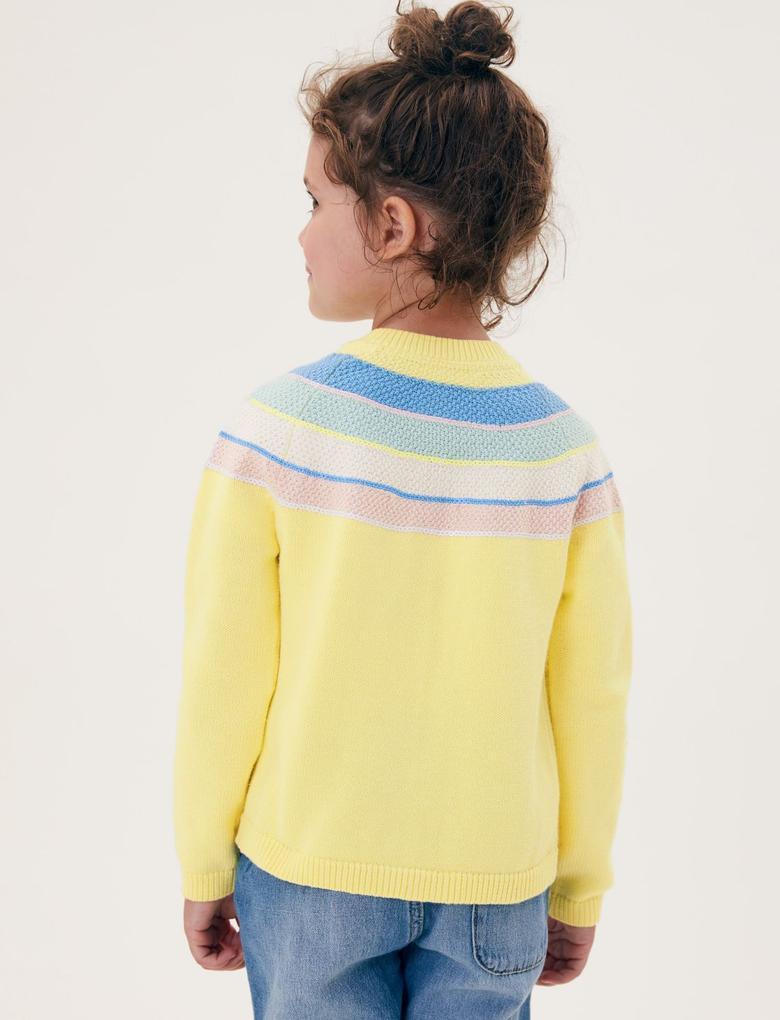 Kız Çocuk Sarı Saf Pamuk Çizgili Hırka (2-7 Yaş)