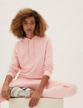Kadın Pembe Uzun Kollu Kapüşonlu Sweatshirt