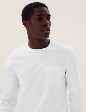 Erkek Beyaz Saf Pamuklu Uzun Kollu T-Shirt
