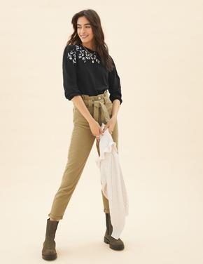 Kadın Siyah Saf Pamuklu İşleme Detaylı Bluz