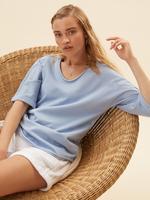 Kadın Mavi Saf Pamuklu Kısa Kollu Sweatshirt