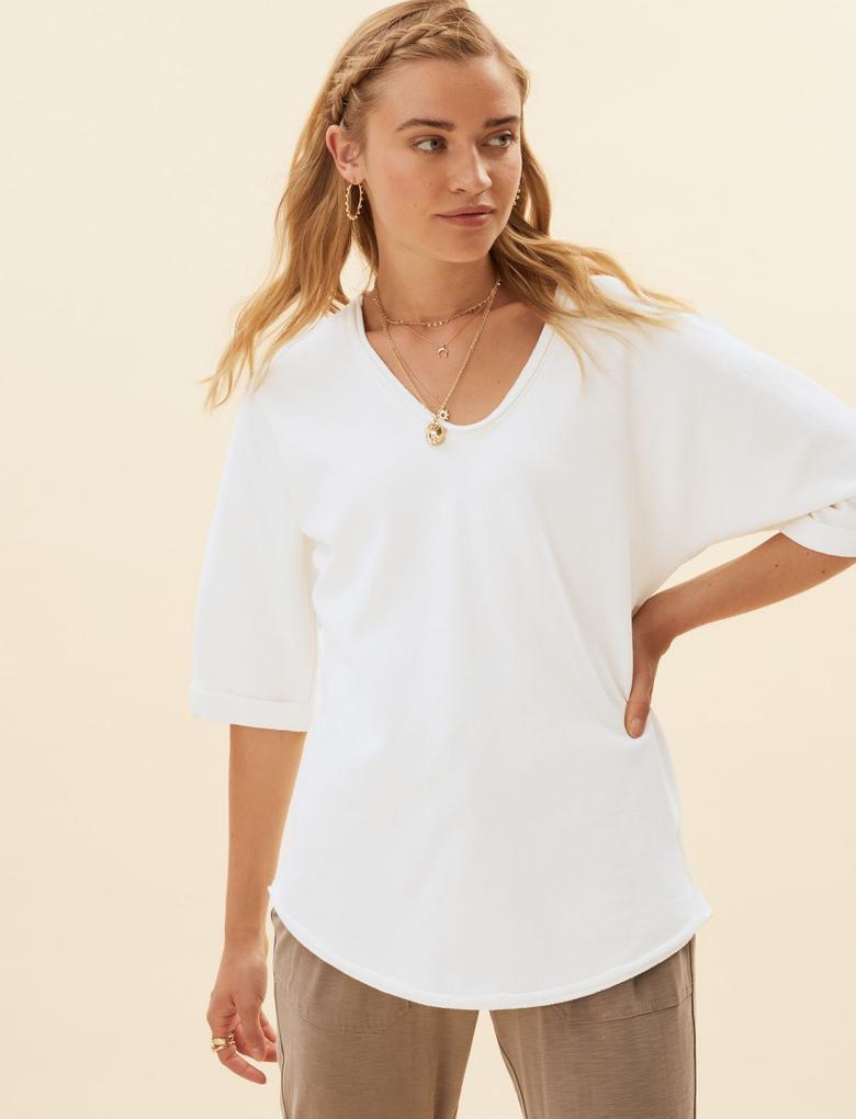 Kadın Krem Saf Pamuklu Kısa Kollu Sweatshirt
