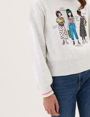 Kız Çocuk Gri Grafik Desenli Pullu Sweatshirt (6-16 Yaş)