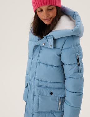Kız Çocuk Mavi Stormwear™ Kapüşonlu Şişme Mont (6-16 Yaş)