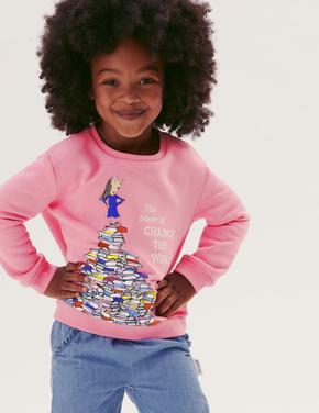 Kız Çocuk Pembe Roald Dahl™ Sweatshirt (2-7 Yaş)