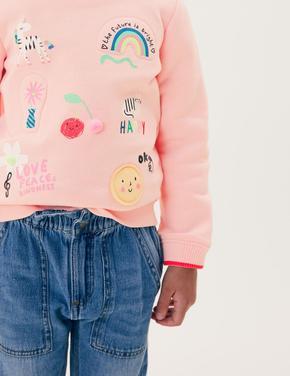 Kız Çocuk Pembe Grafik Desenli Sweatshirt (2-7 Yaş)