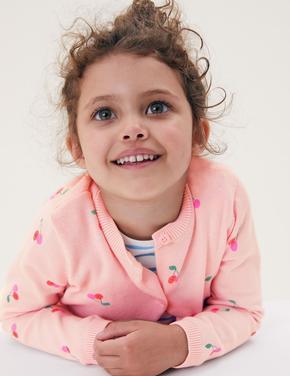 Kız Çocuk Pembe Saf Pamuk Kiraz Desenli Hırka (2-7 Yaş)