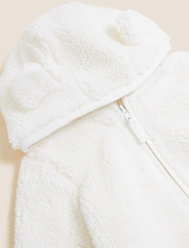 Kız Çocuk Krem 3D Kulak Desenli Polar Sweatshirt (2-7 Yaş)