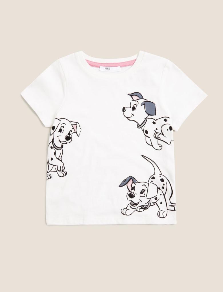 Kız Çocuk Beyaz Saf Pamuk 101 Dalmatians™ T-Shirt (2-7 Yaş)