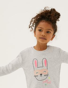 Kız Çocuk Gri Tavşan Desenli Sweatshirt (2-7 Yaş)