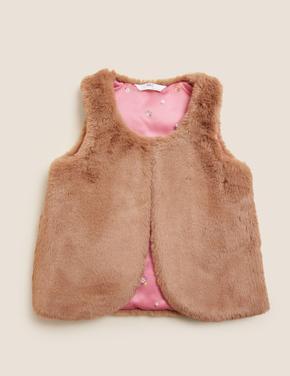 Kız Çocuk Kahverengi Suni Kürk Yelek (2-7 Yaş)