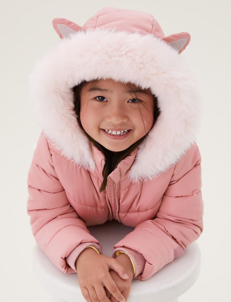 Kız Çocuk Pembe Stormwear™ 3D Kulak Desenli Kapüşonlu Şişme Mont (2-7 Yaş)