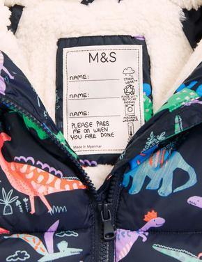 Kız Çocuk Lacivert Stormwear™ Dinozor Desenli Kapüşonlu Şişme Mont (2-7 Yaş)