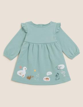 Bebek Yeşil 2'li Grafik Desenli Elbise Takımı (0-3 Yaş)