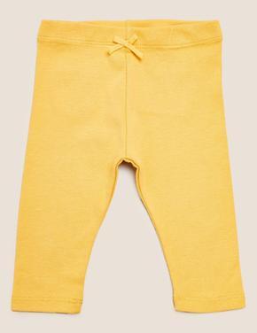 Bebek Sarı Saf Pamuk 3'lü Legging Tayt (0-3 Yaş)