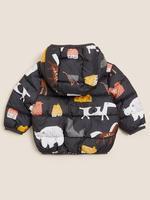 Bebek Gri Stormwear™ Hayvan Desenli Kapüşonlu Şişme Mont (0-3 Yaş)