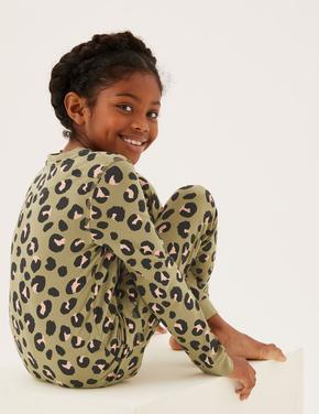 Çocuk Multi Renk Leopar Desenli Pijama Takımı (7-16 Yaş)