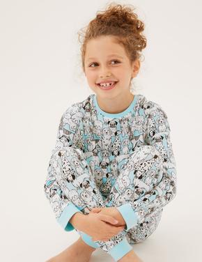 Çocuk Mavi Köpek Desenli Pijama Takımı (7-16 Yaş)