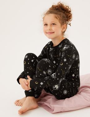 Çocuk Siyah Takımyıldızı Desenli Pijama Takımı (7-16 Yaş)