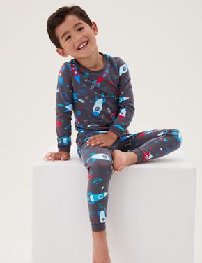 Çocuk Multi Renk Uzay Desenli Pijama Takımı (1-7 Yaş)