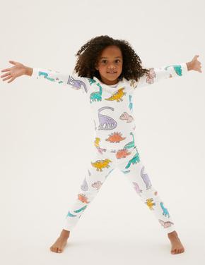 Çocuk Beyaz Dinozor Desenli Pijama Takımı (1-7 yaş)
