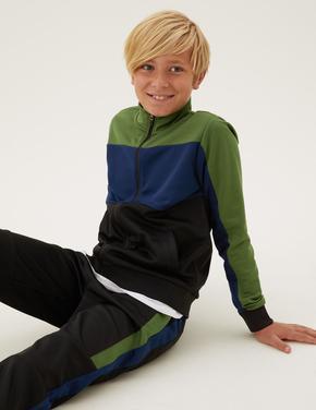 Erkek Çocuk Siyah Fermuarlı Dik Yaka Sweatshirt (6-16 Yaş)