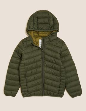 Erkek Çocuk Yeşil Stormwear™ Kapüşonlu Şişme Mont (6-16 Yaş)