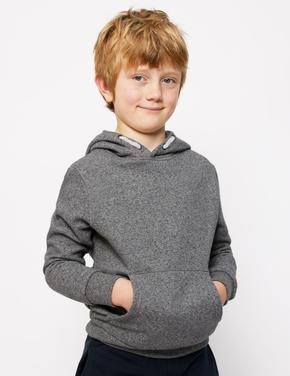 Erkek Çocuk Gri Kapüşonlu Sweatshirt (6-16 Yaş)
