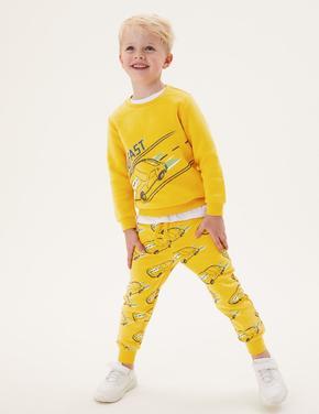 Erkek Çocuk Sarı Araba Desenli Eşofman Altı (2-7 Yaş)